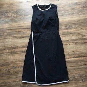 Kate Spade Classy Black Dress White Trim Wrap Hem